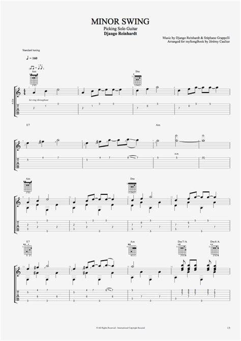 django reinhardt minor swing tab minor swing by django reinhardt picking solo guitar