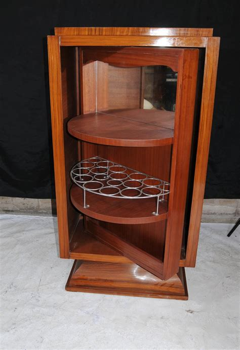 deco cocktail drinks cabinet walnut inlay chest