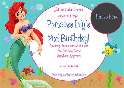 mermaid birthday party invitations bagvania free
