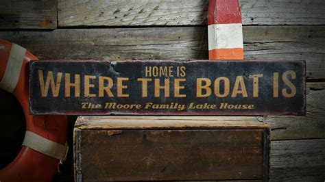 home is where the boat is sign custom home is where boat is sign rustic hand made
