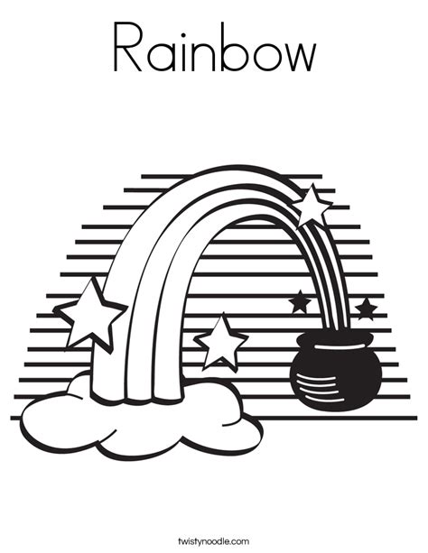 Rainbow Coloring Page Twisty Noodle Rainbow And Pot Of Gold Coloring Pages
