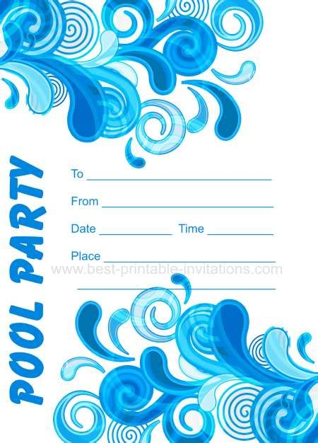 printable invitations pool party adult pool party invitations