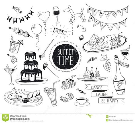 doodle how to set up doodle drinks and snacks stock vector image 60208245