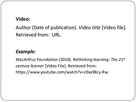 apa format video clip slideshare reference lists and citations apa