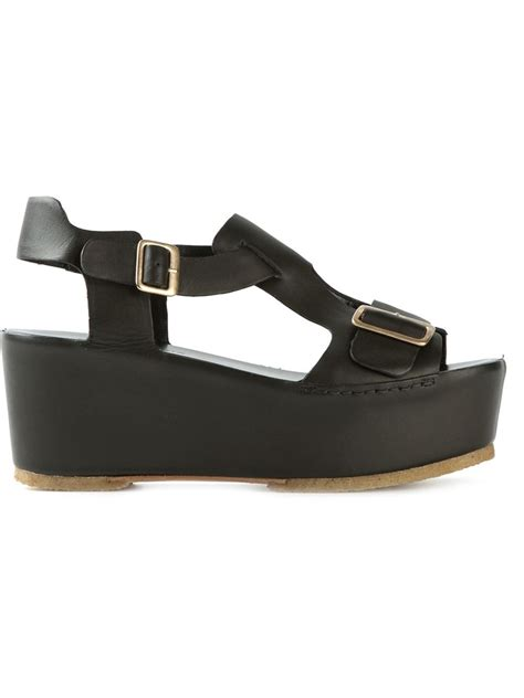 roberto carlo flatform sandals in black lyst