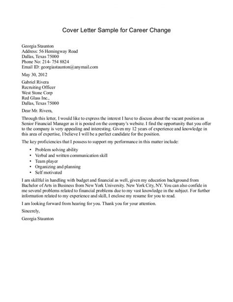 cover letter exles for change career cover letter