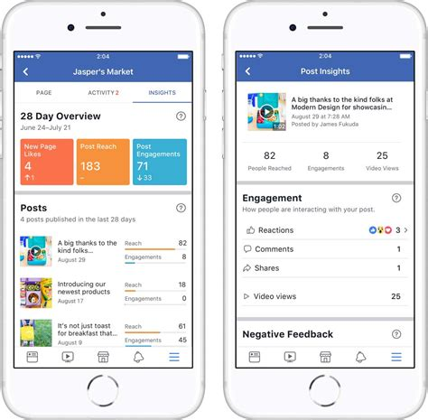 insights mobile revs features for mobile page insights