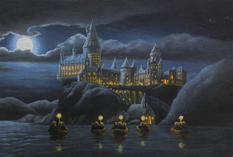 Hogwarts Wall Mural hogwarts at night art print by karen coombes