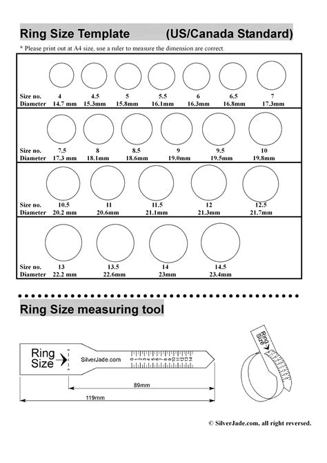 Ring Sizing Template by Ring Size Template World Of Template Format
