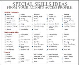 Example Of Special Skills In Resume List Of Special Skills For Resume Free Resume Template