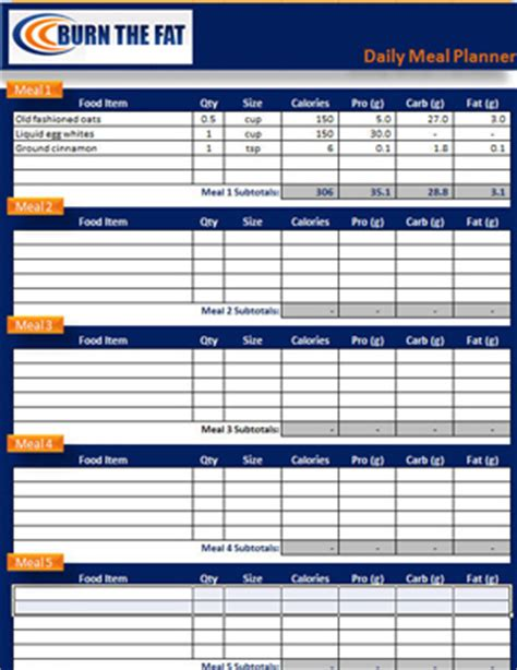 Meal Plan Spreadsheet by Image Gallery Nutrition Tracker Sheet