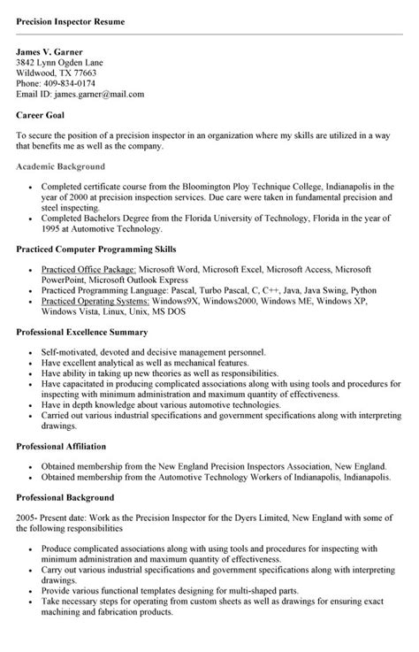inspector resume sle resume templates for building inspector resume templates