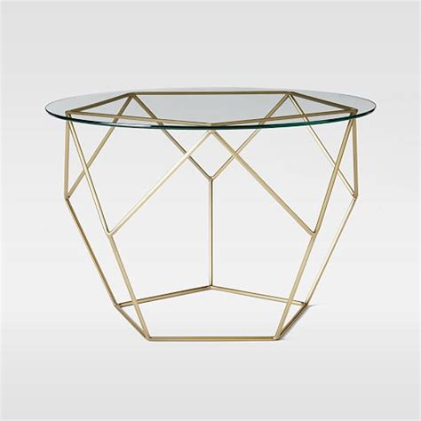 Origami Coffee Table West Elm - origami side table glass antique brass west elm