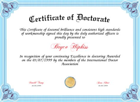 Certificate Of Doctorate Certificate Created With Certificatefun Com Phd Diploma Template