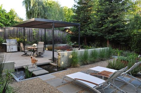 modern backyards water features for backyard patio modern with barbecue