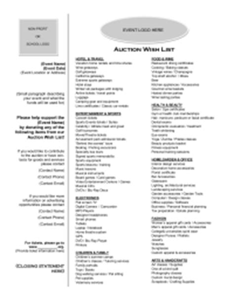 auction wish list pto today