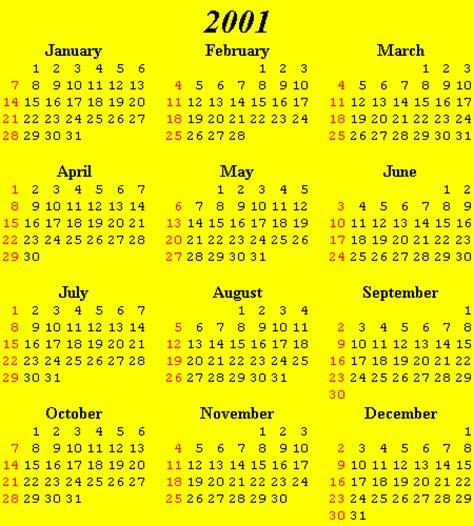 Calendar For 2001 Calendars 2000 2010