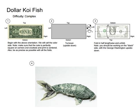 Dollar Bill Origami Koi Fish - an origami koi fish made with a 1 dollar bill rebrn