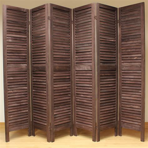 wood divider wooden slat room divider screen 6 panel brown room