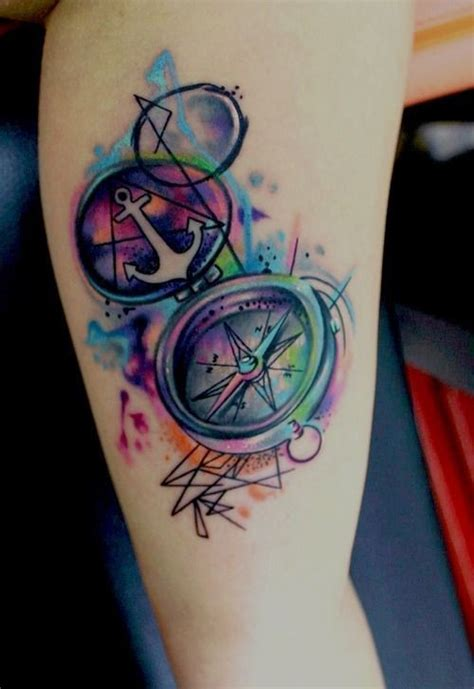 watercolor anchor n compass tattoo on arm tattooshunt com