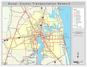 map of duval county florida duval county road network color 2009