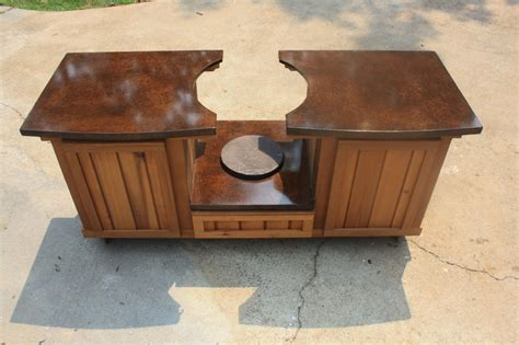 made big green egg table cabinet by deck kitchen