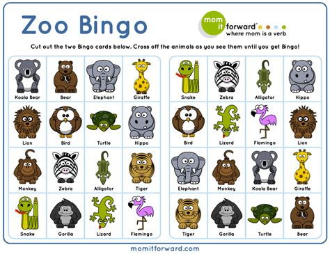 printable pictures of zoo animals adorable zoo bingo free printable to help your family play