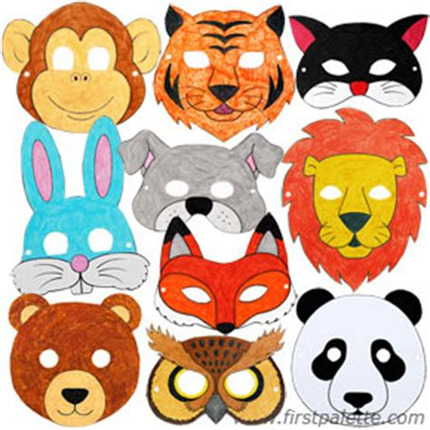 How To Make Animal Masks With Paper - printable animal masks craft crafts firstpalette