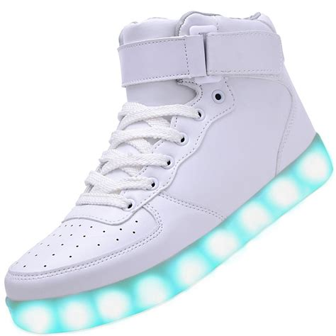 white high top light up shoes high top usb charging led light up shoes