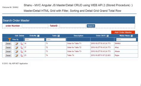 table application mvc angularjs master detail crud filter and sorting using