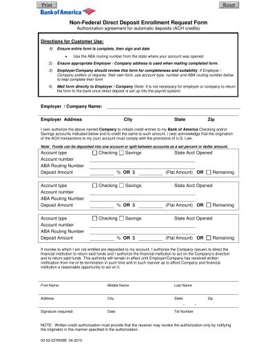 Credit Authorization Form Bank Of America Bank Of America Direct Deposit Form Pdf Freedownloads Net