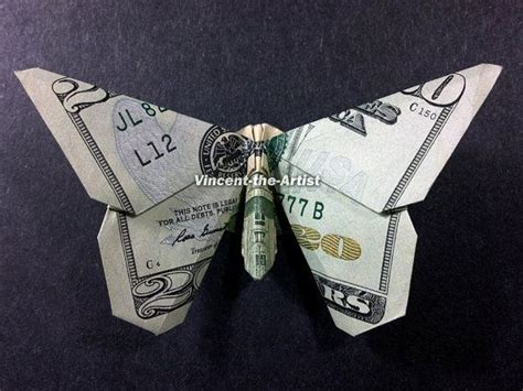 Origami 20 Dollar Bill - butterfly money origami insect animal dollar bill