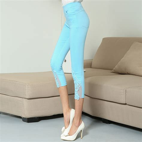 are colored pants in style for 2016 2016 summer style candy color stretch capris pants women