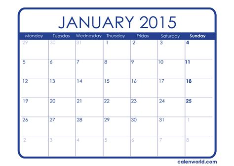 january calendar template 2015 january 2015 printable calendar new calendar