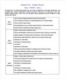 business itinerary template sle itinerary template 7 free documents in pdf