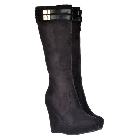 onlineshoe knee high lined winter boots with high