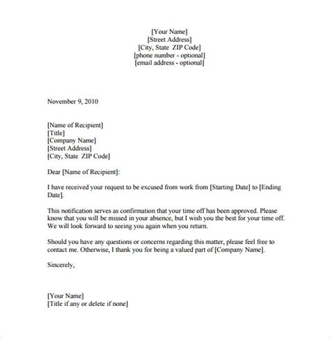 leave of absence letter 8 free documents in pdf word