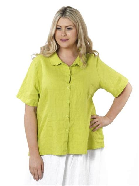 Blouse Lime plus size blouse in lime green linen by flax vida moda