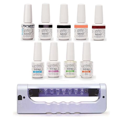 gel nail polish kit with uv light gelish mini bottles 5 color uv led gel nail polish starter