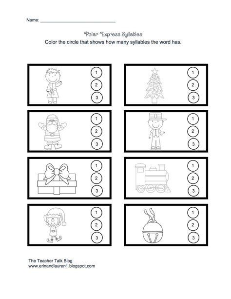 polar express printable activity sheets polar express syllable worksheet christmas work