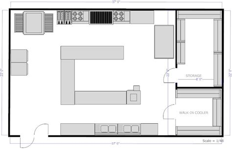 Restaurant Kitchen Layout Design Kitchen Layouts With Island Restaurant Kitchen C Island Floor Plan Exle Smartdraw