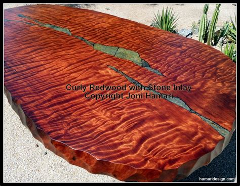 Tile Dining Room Table by Hand Crafted Live Edge Wood Slab Curly Redwood Dining