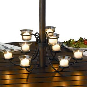 Nine candle candelabra for outdoor tables