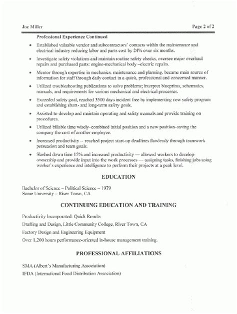 maintenance manager resume sles the best letter sle