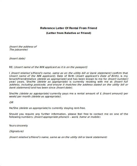 Reference Letter From Work For Renting 9 Rental Reference Letter Template Free Word Pdf Format Downlaod Free Premium Templates