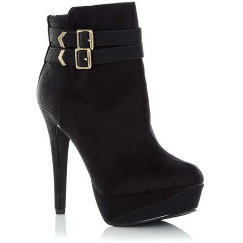 black buckle heeled ankle boots polyvore