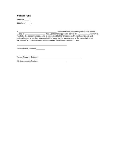 notary form template best photos of sle notary statement sle of notary