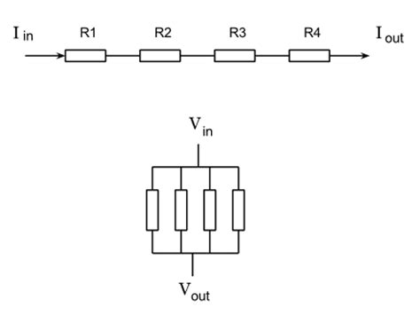 series of resistor electric circuits current in series resistors and voltage drop in parallel resistors physics