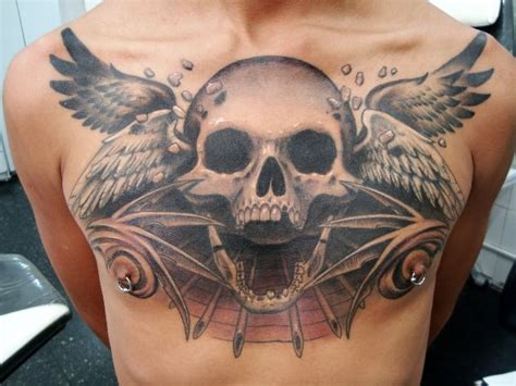 skull chest tattoos chest skull wings by javier