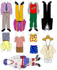 Printable boy paper doll clothing paper doll chain template boy and